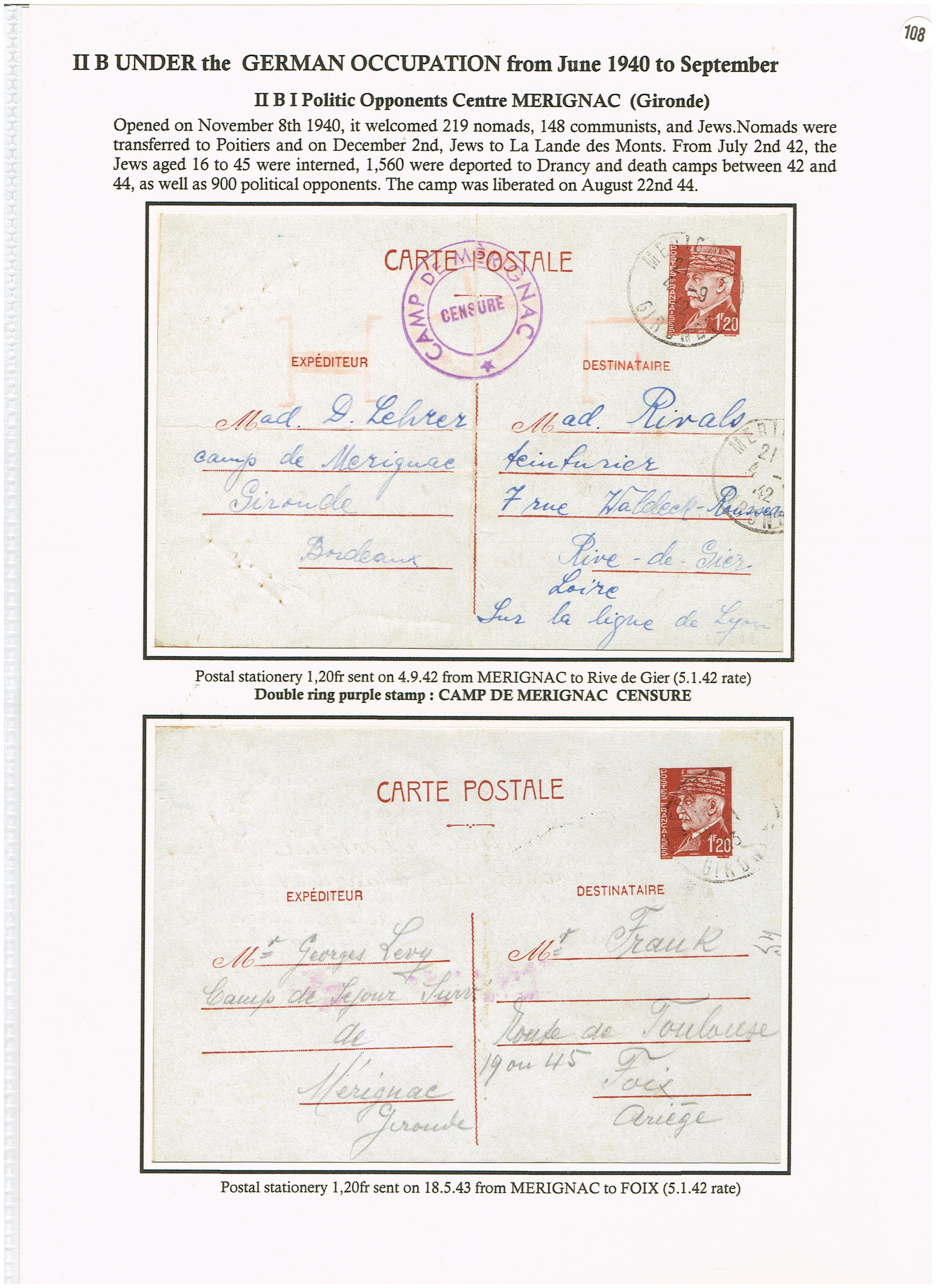 Les courriers des camps d'internement en France (1939 - 1945) p. 108