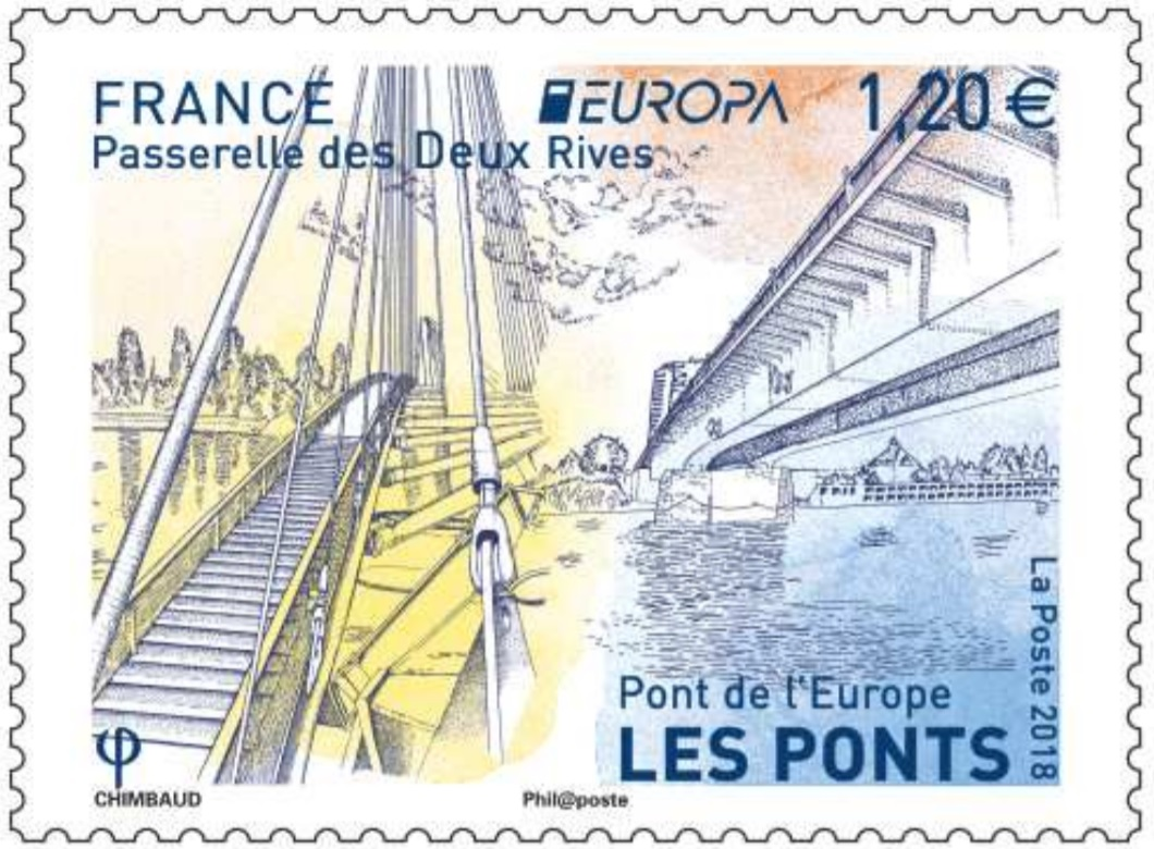Emission Europa - Passerelle des Deux Rives - Pont de l'Europe