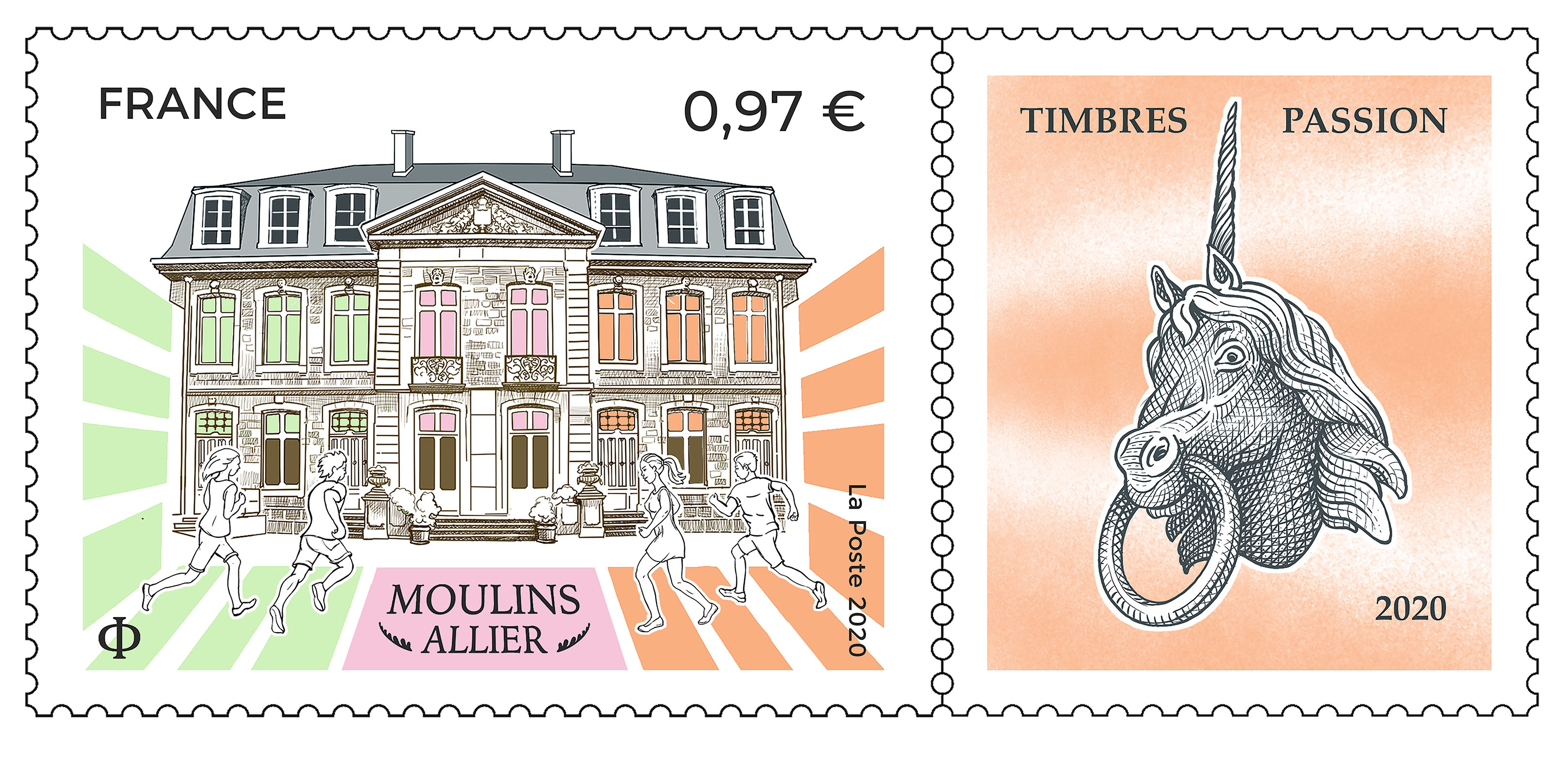 Emission Moulins (Allier) - Timbres Passion 2020